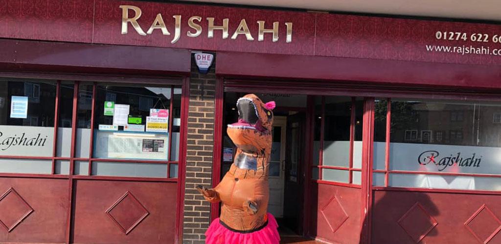 The T-rex mascot of Rajshahi