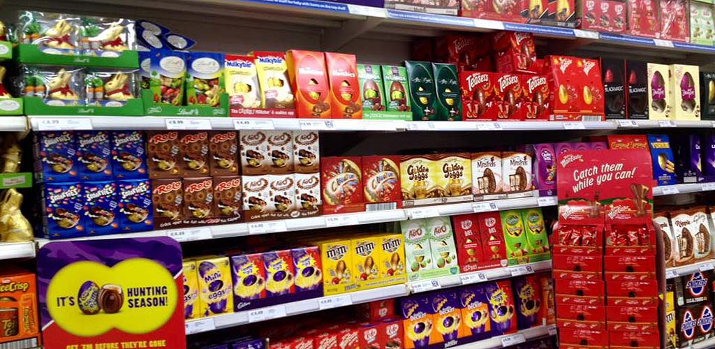 The shelves of chocolates from Tesco