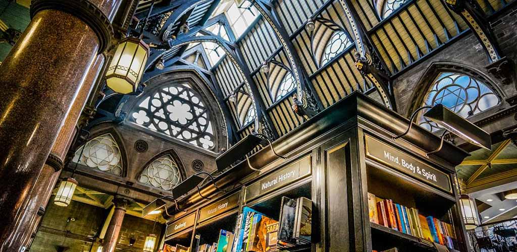 The majestic ceiling of Waterstones