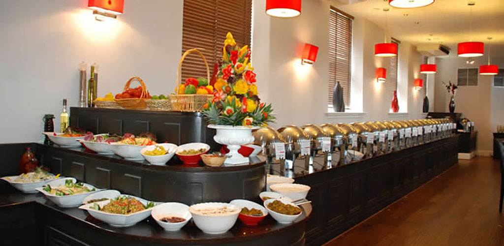The buffet spread at Aakash Restaurant