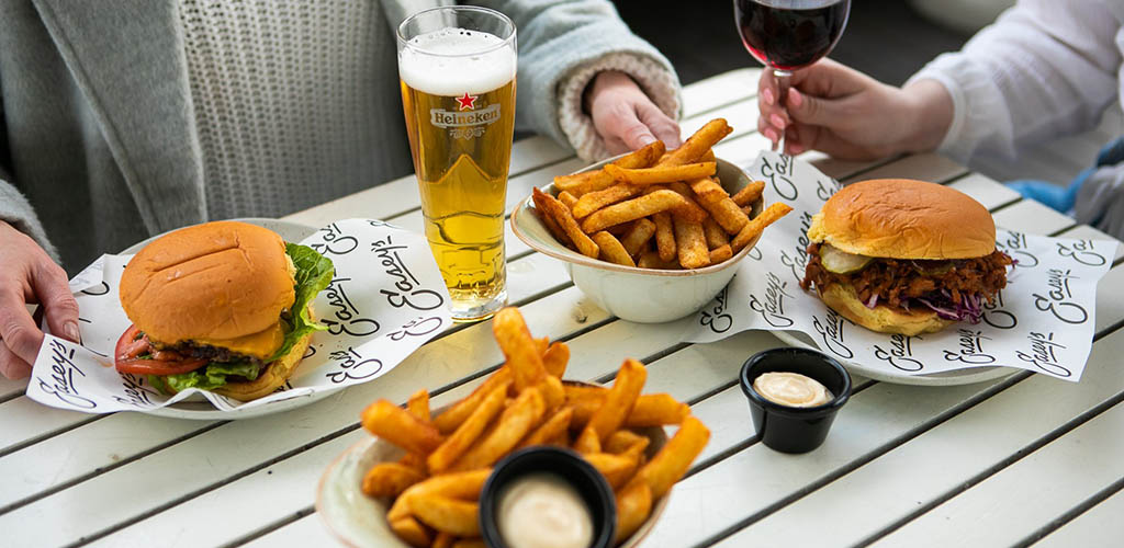 Beer and fried goodies available at Emerson