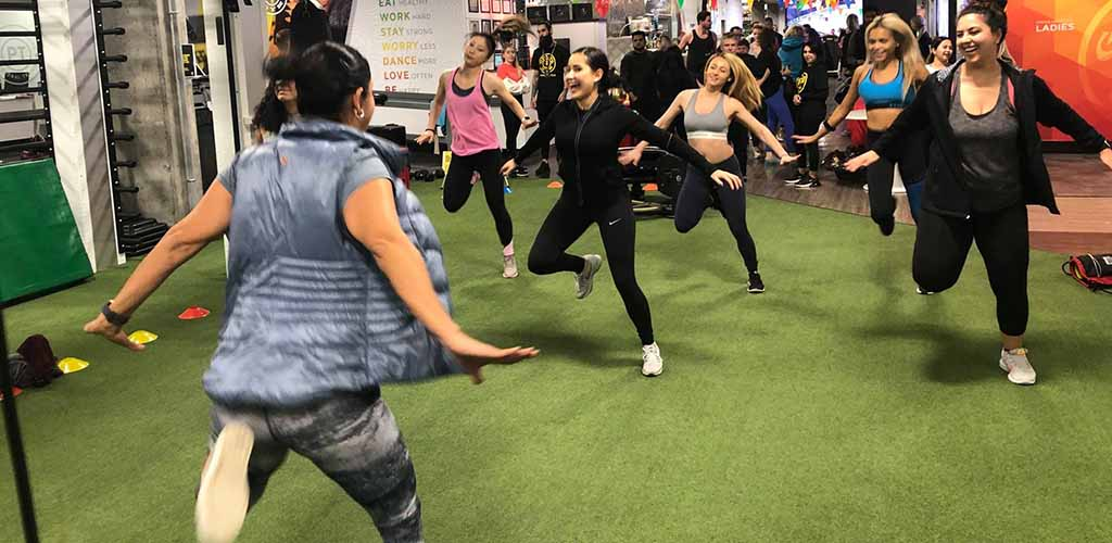 A dance class at Gold's Gym
