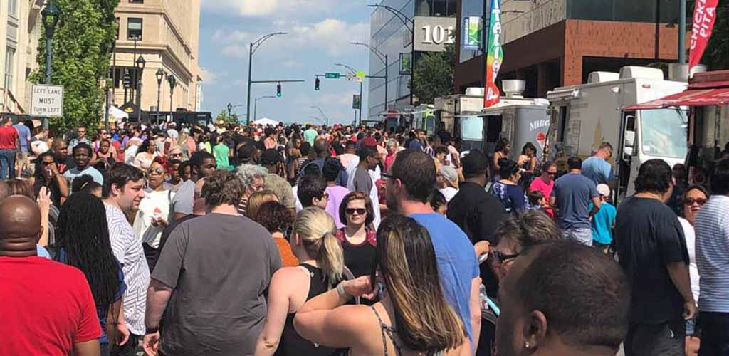 Thousands of people at Spring Garden Food Truck Festival