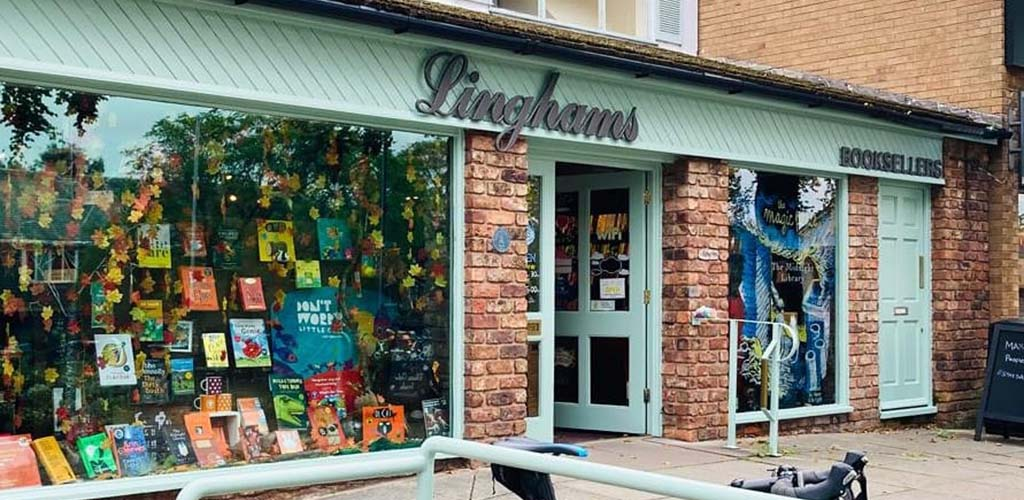 Storefront of Linghams Books where you can meet BBW in Wirral