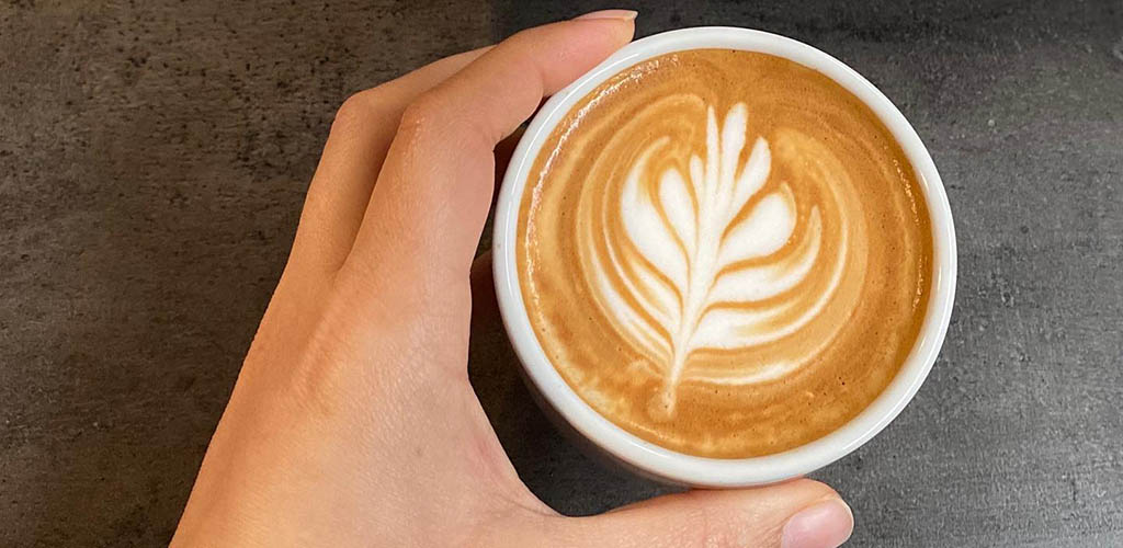 Latte art from Swell Coffee