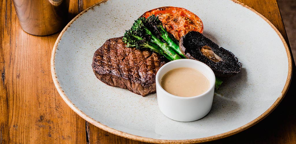 Steak and veggies from The Aubergine