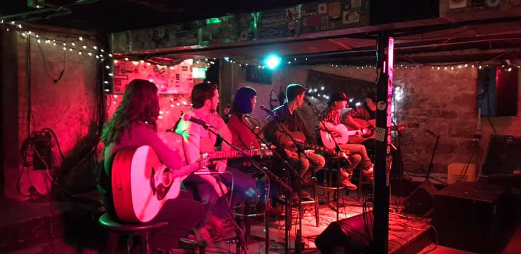 An acoustic performance at The Cavern