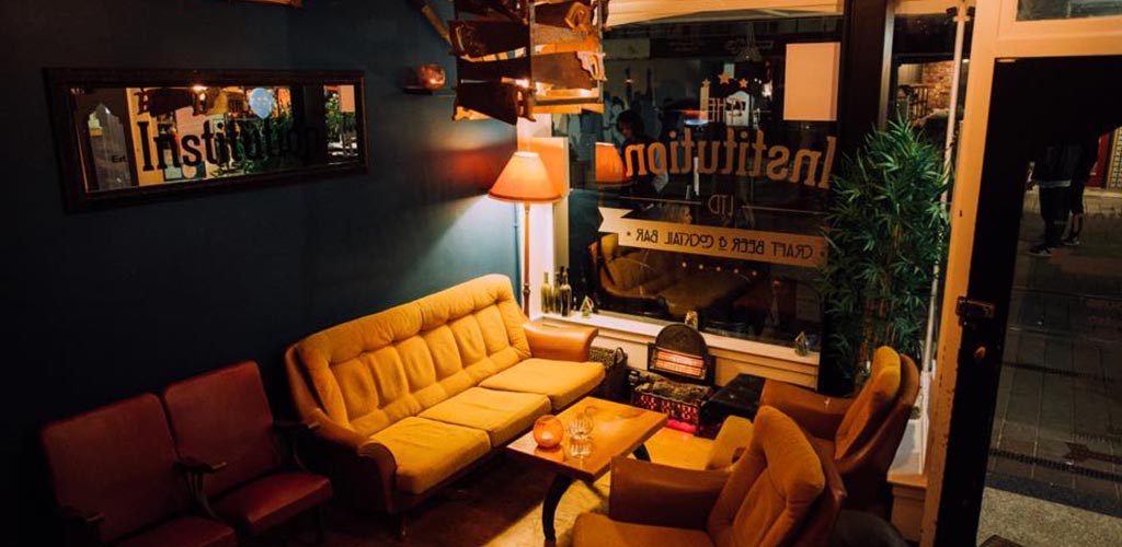 The cozy couch at the Institution Bar