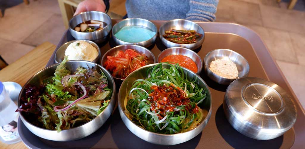 A variety of side dishes from 678 Korean BBQ Restaurant