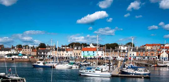 Small harbor in Anstruther village, Fife.