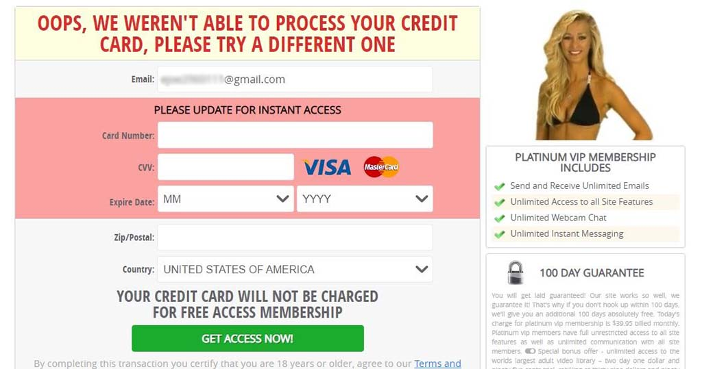 Asking for credit card details