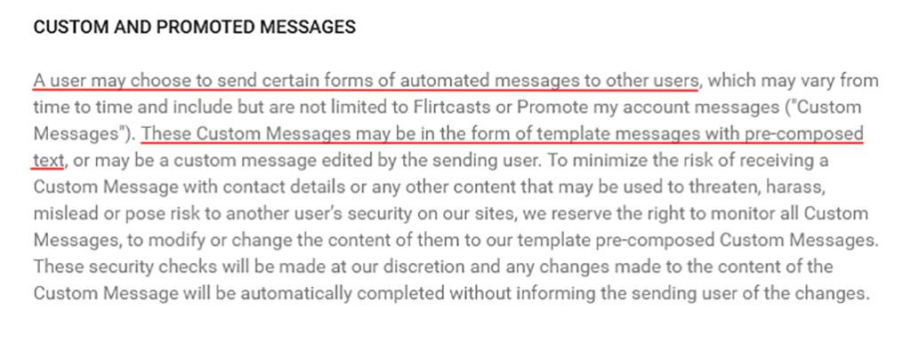 Custom user messages