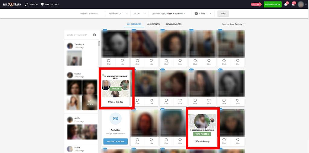 Hidden ads in between profiles
