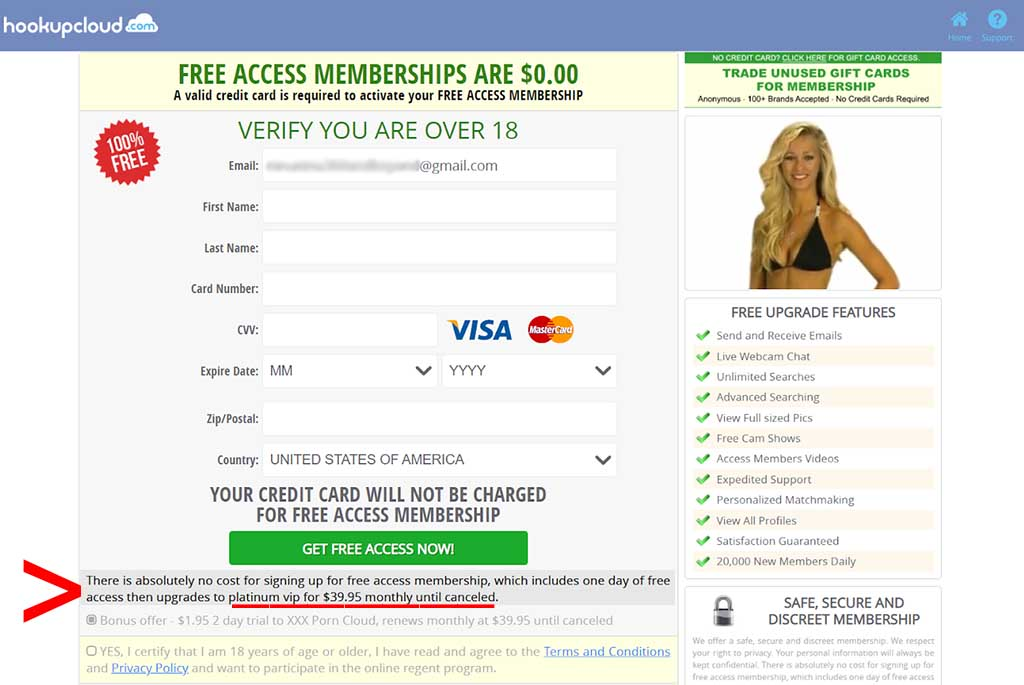 Hidden message in credit card form