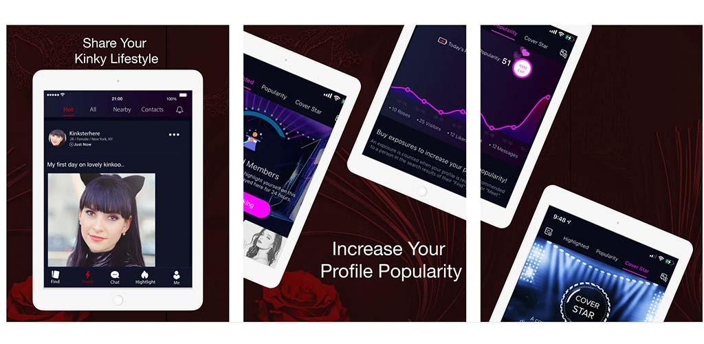 Kinkoo screens on their dating app