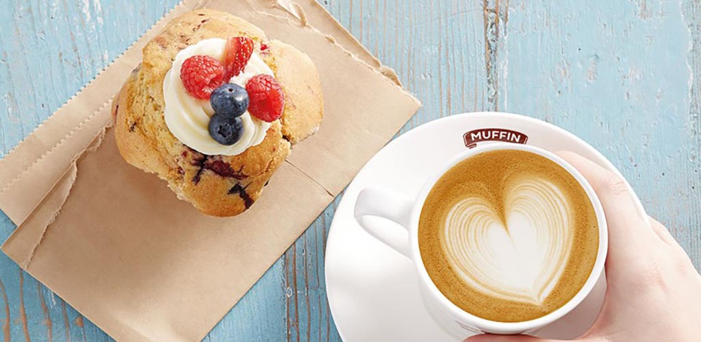 A muffin and latte from Muffin Break