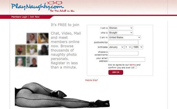 PlayNaughty.com homepage