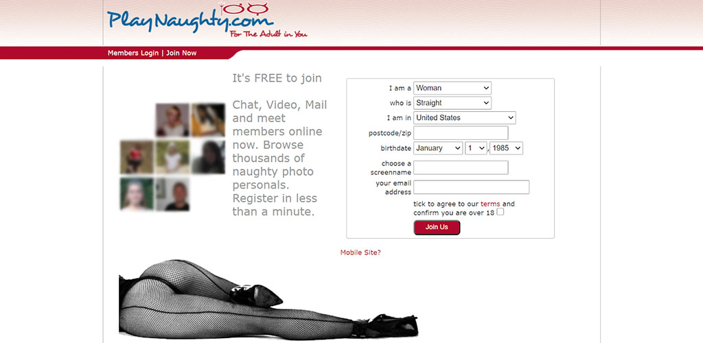 PlayNaughty review landing and login page