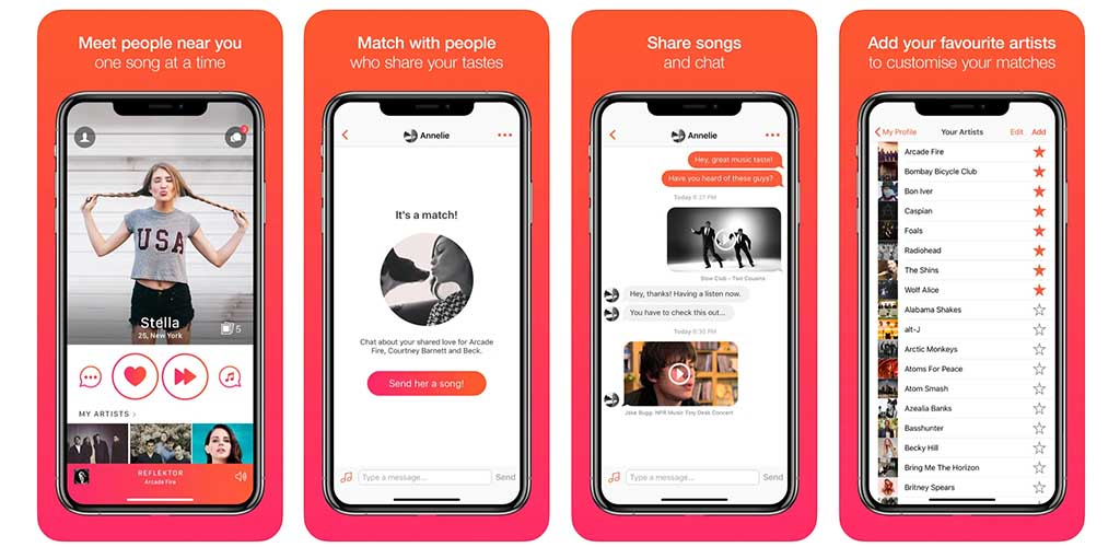 Screenshots of the Tastebuds app