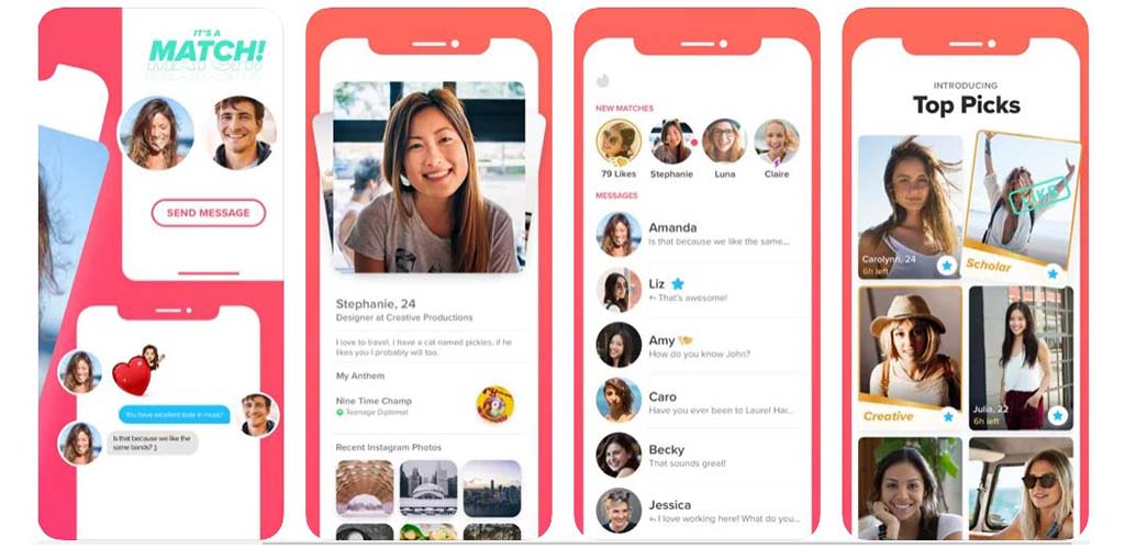 Some of the Tinder app screens