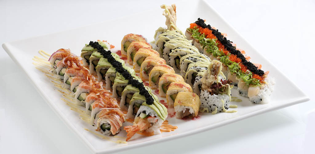 A variety of sushi rolls from Aisuru Sushi
