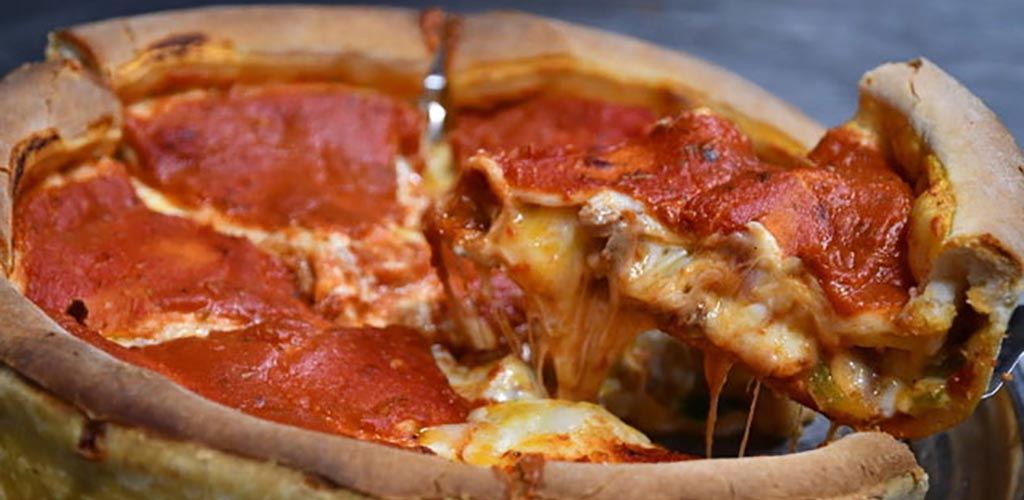 A pie from Chicago Style Pizza Shack