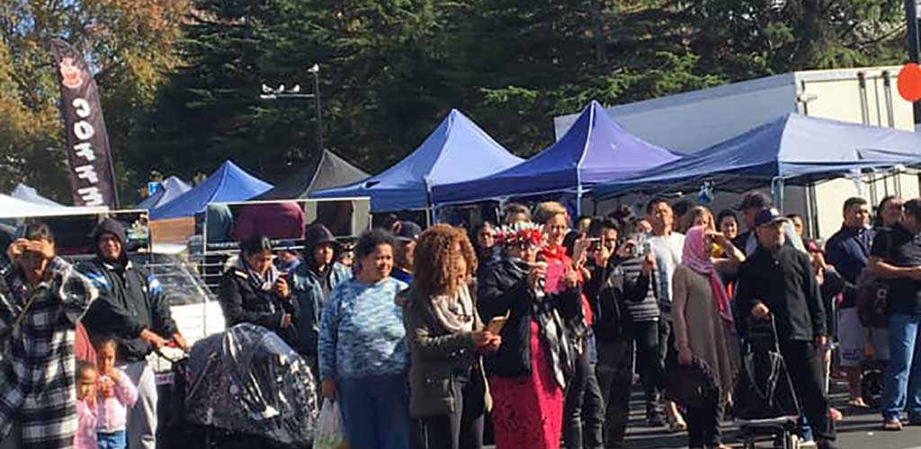 A busy day at Otara Markets