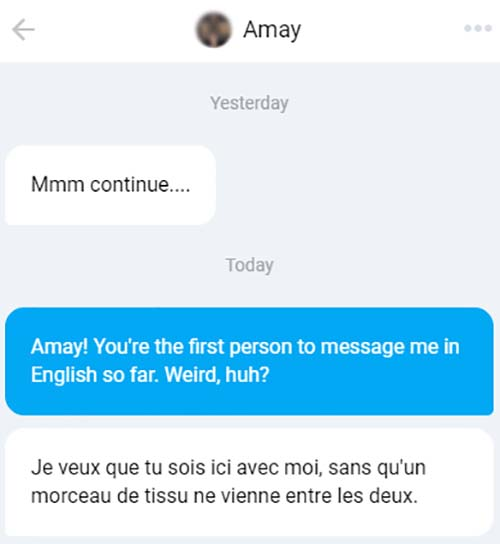 A message in French