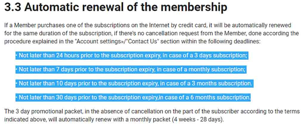 Automatic renewal of membership