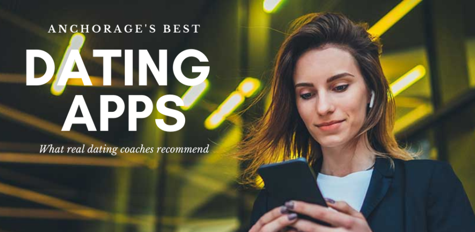 Professional woman checking out the best dating apps and sites in Anchorage her office