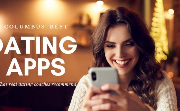 Smiling woman trying out the best dating apps in Columbus in a cafe