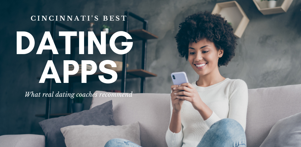 Woman trying out the best dating apps in Cincinnati while in her livingroom