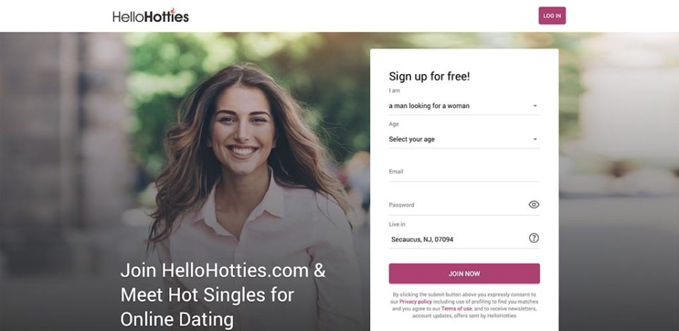 HelloHotties landing page