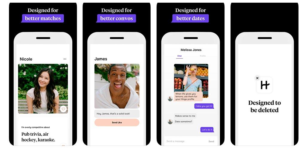 Screenshots from Hinge App