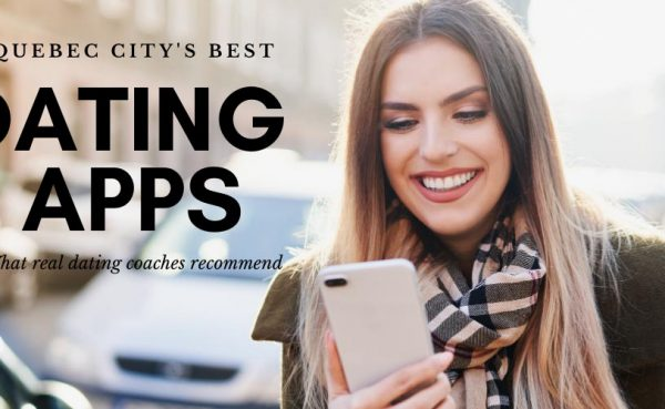 A cute girl using the best dating apps and sites in Quebec City while walking through the city