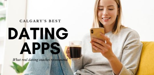 Blonde girl with coffee trying out some of the best dating apps & sites in Calgary