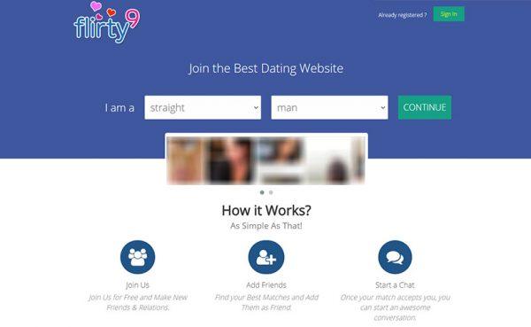 Flirty9 Landing Page