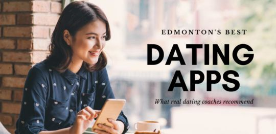Beautiful woman using the best dating apps and sites in Edmonton at a cafe