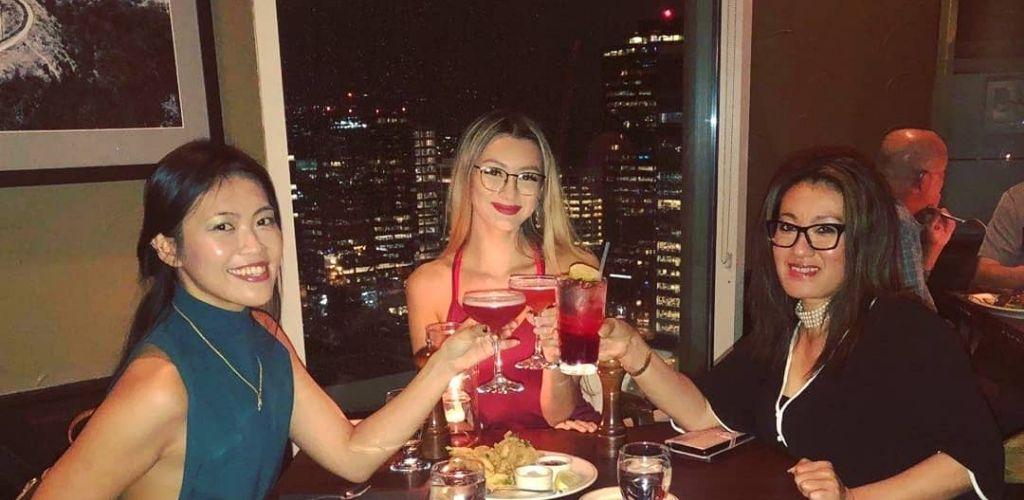Seattle MILFs toasting drinks at Daniel's Boiler