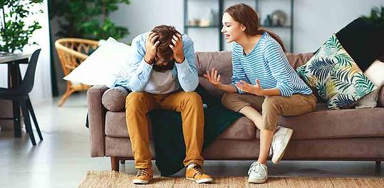 A high-maintenance woman berating her boyfriend