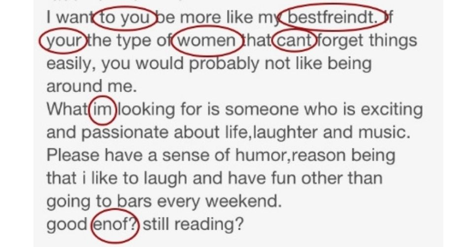 How spelling can create a bad dating profile