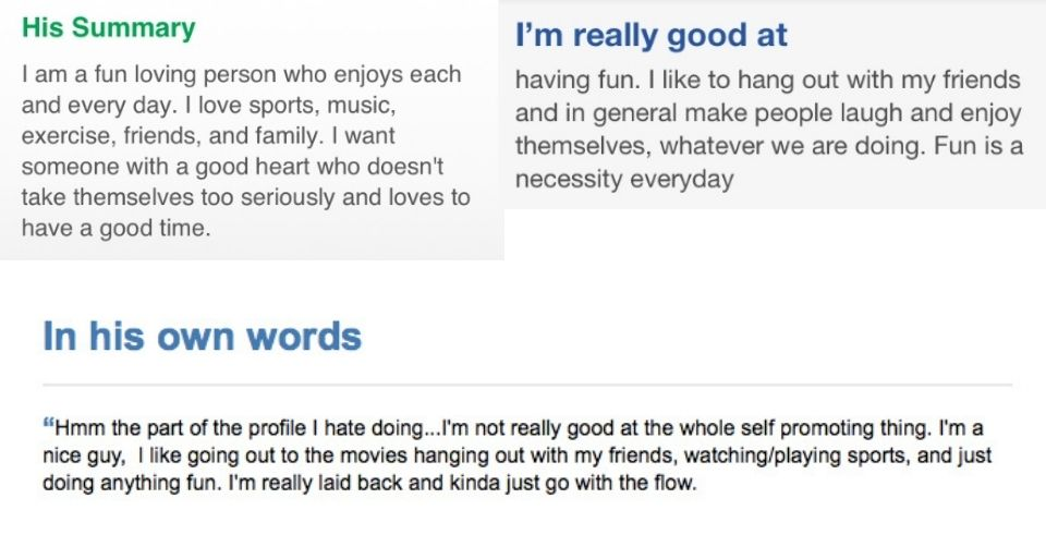 Examples of profiles that don't stand out