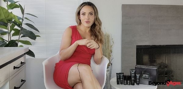 Woman noticing the physical traits of a. man