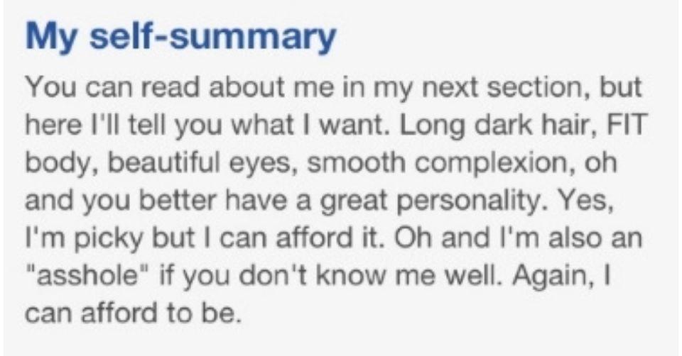 Arrogant online dating profile example